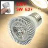 220V Silver Tone Aluminum Sheel E27 3W Warm White 3 LEDs Spot Lig...