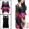 Allegra K Ladies Colour Block Boat Neck Sheer Blouse w Tank Top Fuchsia M