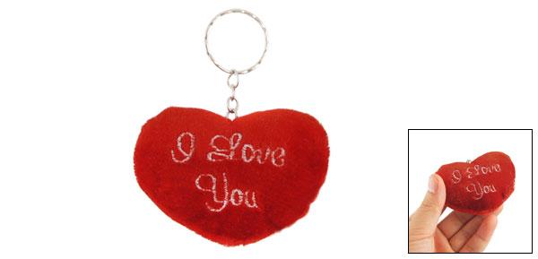 Bag Detailing Red Fleece Heart Pendant Keychain Key Holder