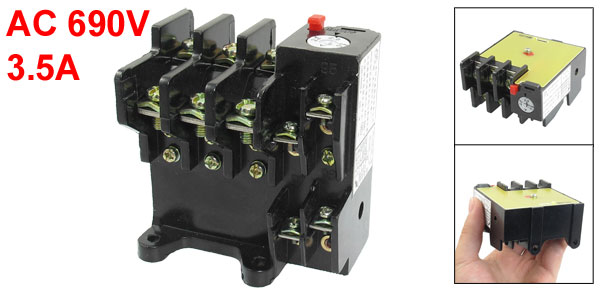 AC 690V 3.5A 3 Pole 2.2A-3.5A Range 1NO 1NC Thermal Overload Relay JR36-20