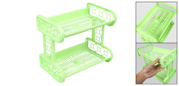 Detachable Two Rectangular Layer Green Plastic Shelves Rack Storage