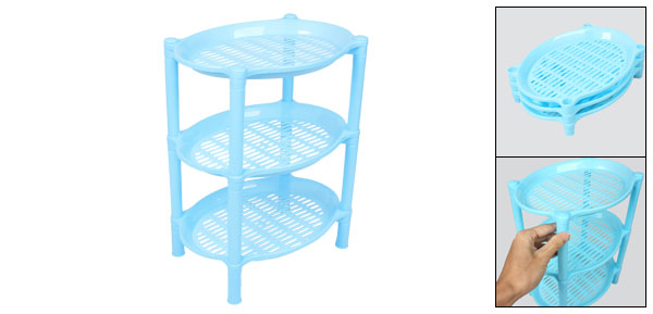 Detachable Three Layer Blue Plastic Mini Shelves Rack Storage