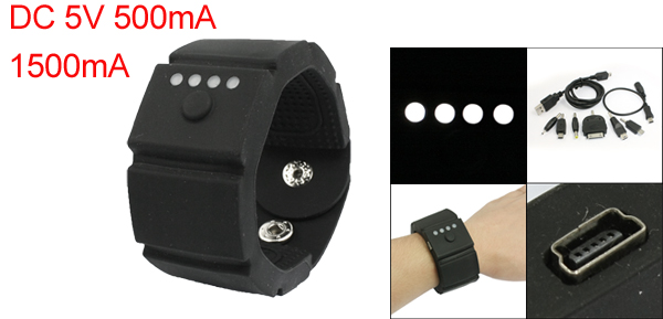 1500mA Mini USB Port Black Mobile Phone Mp3 Mp4 Wrist Power Bank