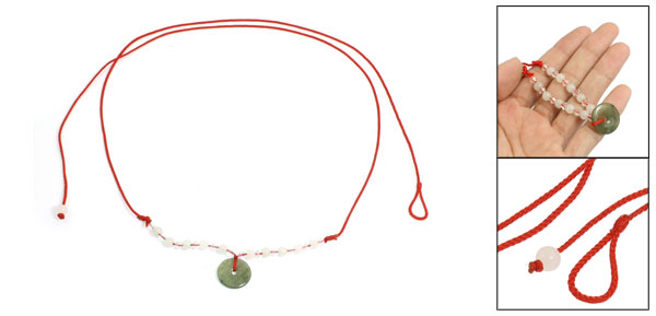 Red Braided String Plastic Crystal Round Faux Jade Decor Waist Chain