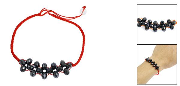 Lady Red Knitted String Black Crystal Decor Charm Bracelet