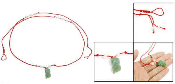 Red Knitted String Plastic Crystal Green Faux Jade Decor Waist Chain