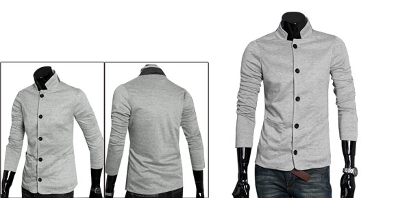 Men Gray Stylish Long Sleeve Simple Design Two Pockets Casual Blazer M