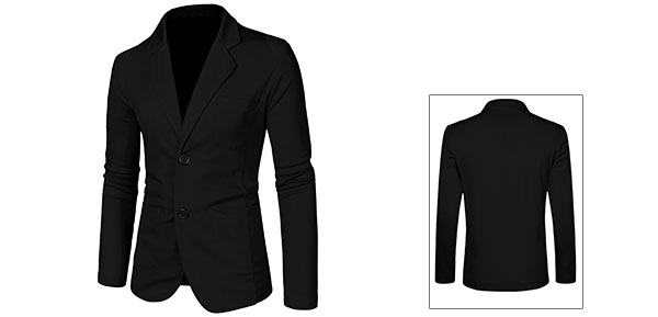 Mens Black Stylish Solid Color Pockets Front Button Closure Slim Blazer M