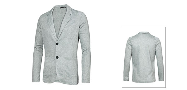 Mens Gray Stylish Solid Color Small Pocket Upper Button Closure Fall Blazer M
