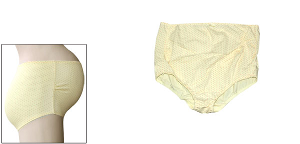 Maternity Light Yellow Elastic Waist Stretchy Dots Print Casual Briefs M
