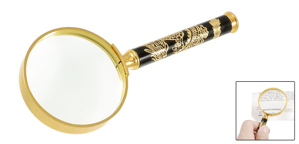 4X Metal Frame Dragon Pattern Handle Magnifying Glass Magnifier 50mm