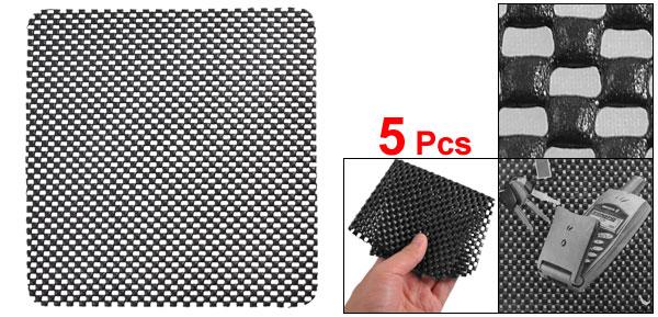 5 Pcs Soft PVC Foam Grid Car Sticky Mat Nonslip Pad Black for Phone Keys