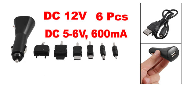 DC 12V USB Port Car Charger Kit + 6 Pcs Phone Adapter + Cable