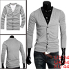 Men Gray Fashion Simple Design Button Do...