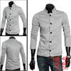 Men Gray Stylish Long Sleeve Simple Design Two Pockets Casual Bla...