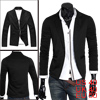 Mens Black Peaked Lapel Long Sleeve Stretchy Pockets Front Casual...