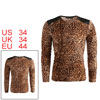 Men V Neck Long Sleeve Leopard Prints Sh...
