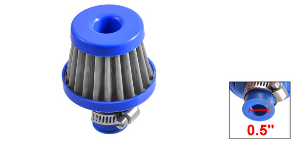 Car Truck Tapered Cone Cold Intake Air Filter Blue 10mm 0.5
