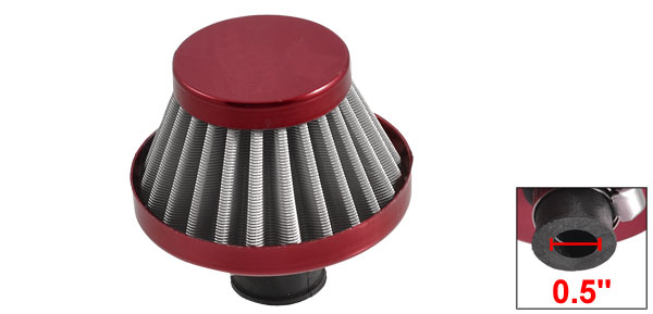 Car Truck Cold Intake Round Tapered Air Filter Burgundy 11mm 0.5