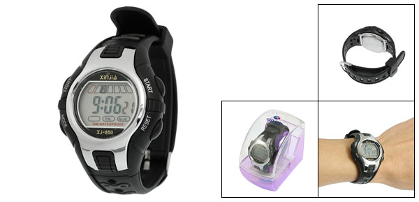 Black Silver Tone Plastic Adjustable Wristband Digital Sports Watch for Children