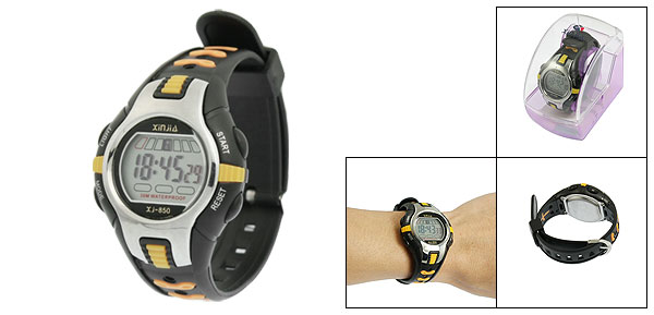 Black Yellow Plastic Adjustable Wristband Digital Sports Watch for Children
