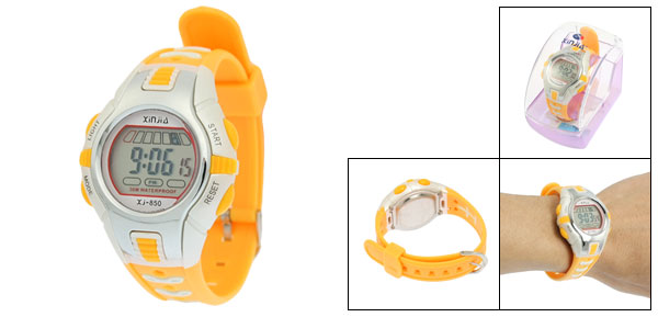 Yellow Plastic Adjustable Wristband Digital Sports Watch for Children