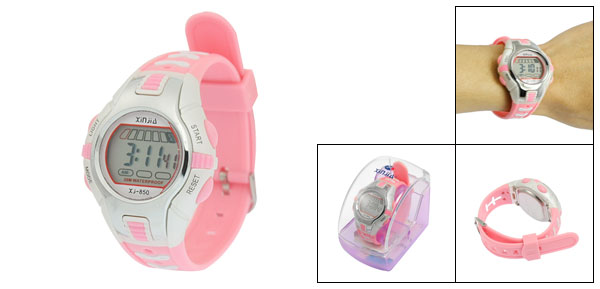 Pink Plastic Adjustable Wristband Digital Sports Watch for Children