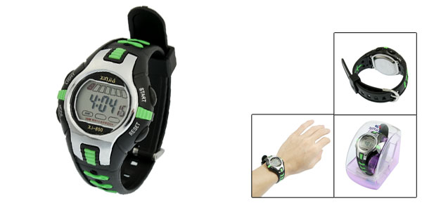 Black Green Plastic Adjustable Wristband Digital Sports Watch for Children