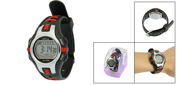 Black Red Plastic Adjustable Wristband Digital Sports Watch for Children