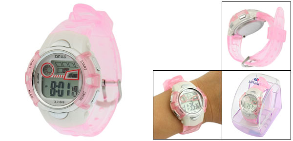 Clear Pink Plastic Adjustable Wristband Sports Watch for Children
