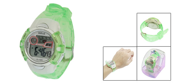 Clear Green Plastic Adjustable Wristband Sports Watch for Children
