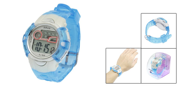 Blue Plastic Adjustable Wristband Sports Watch for Children