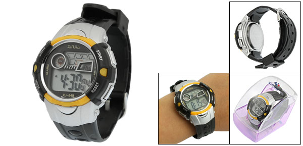 Black Yellow Plastic Adjustable Wristband Sports Watch for Children
