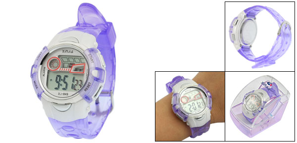 Purple Plastic Adjustable Wristband Sports Watch for Children