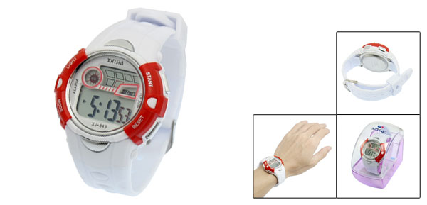 Red White Plastic Adjustable Wristband Chronograph Sports Watch for Children