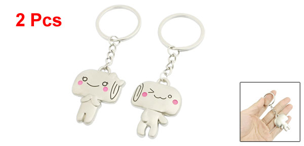 Pair Silver Tone Pink Smile Cartoon ids Pendant Keyrings Keychains for Lovers