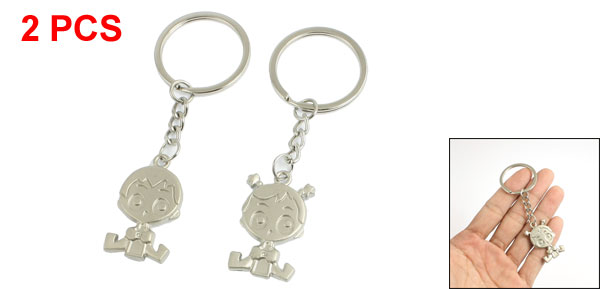 Pair Silver Tone Cartoon Pendant Keyrings Keychains for Lovers