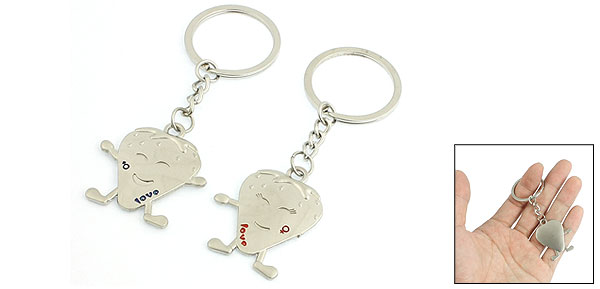 Pair Silver Tone Cartoon Strawberry Pendant Keyrings Keychains for Lovers