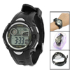 Black Plastic Round Case Adjustable Wristband Chronograph Sports Watch for Children