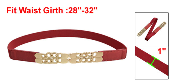 Gold Tone O Shape Chain Decor Hook Buckle Red Elastic Cinch Waist Belt
