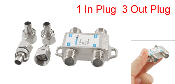 Silver Tone 3 Way F Connector CATV Directional Splitter