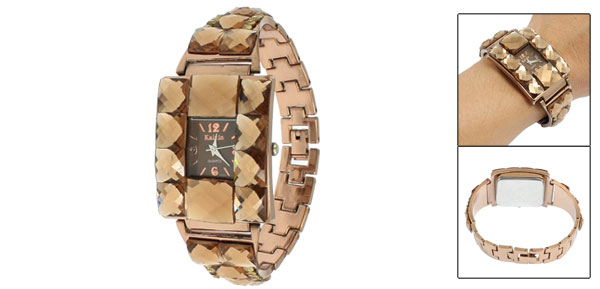 Woman Coffee Color Crystal Decor Watchband Square Case Wrist Watch