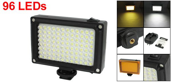 Black Plastic Photography White 96 LED Video Light Lamp w Charger Orange Filter