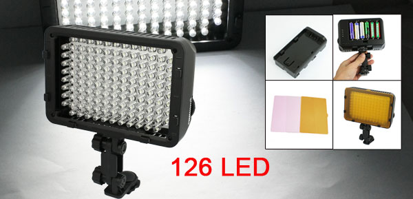 Photography LS-126 White 126 LED Video Light Lamp w Filter Battery Holder
