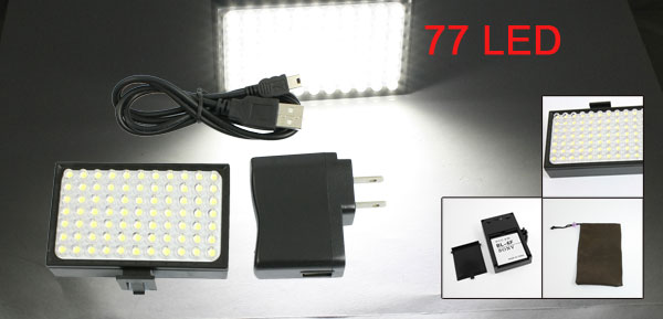 US Plug Black Photography LBP-772S+ White 77 LED Video Light Lamp w Charger