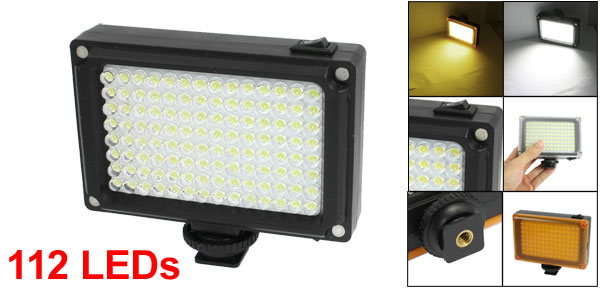 Photography DV Camcorder White 112 LED Video Light Lamp w Filter Diffuser