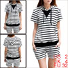 Woman Stripe Prints Pocket Front Short Sleeve Hoody Shirt w Elast...