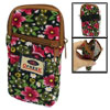 Red Green Flowers Print 2 Compartments Zip Closure Cell Phone Pou...