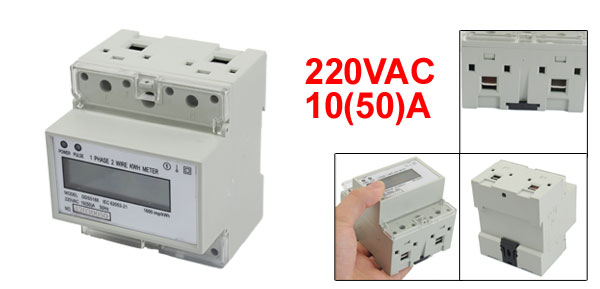 AC 220V 10(50)A 35mm DIN-Rail 1 Phase LCD Electronic Kilowatt Hour Energy Meter