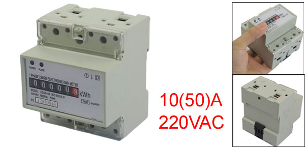 AC 220V 10(50)A 35mm DIN-Rail 1 Phase LCD Mechanical Kilowatt Hour Energy Meter